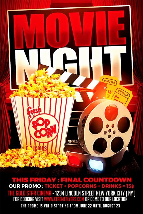 Movie Night Flyer Template Unique Movie Night Flyer Template Xtremeflyers