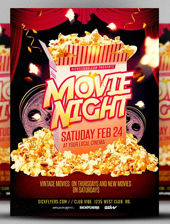 Movie Night Flyer Templates Beautiful Movie Night Flyer Template 20 Free Jpg Psd format