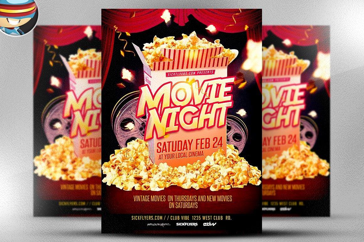 Movie Night Flyer Templates Beautiful Movie Night Flyer Template Flyer Templates Creative Market