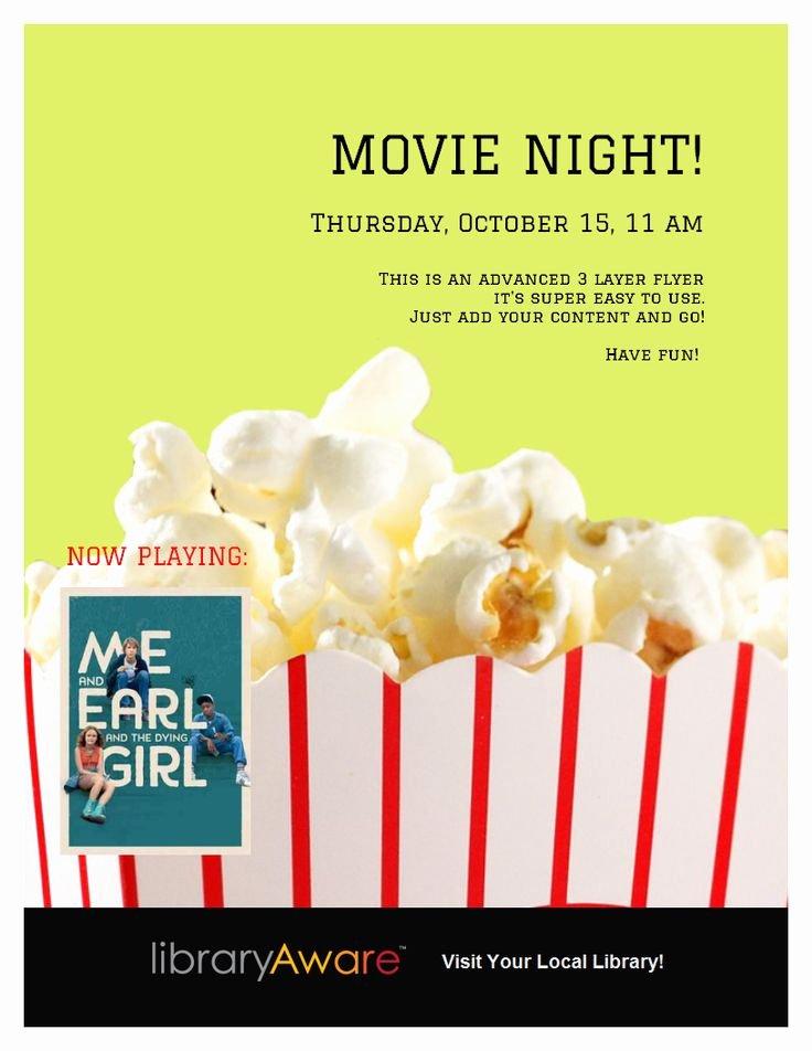 Movie Night Flyer Templates Beautiful Movie Night Flyer Template Library Ideas