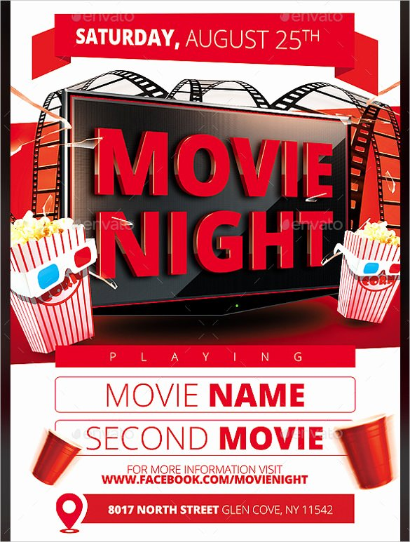 Movie Night Flyer Templates Elegant Movie Night Flyer Template 20 Free Jpg Psd format