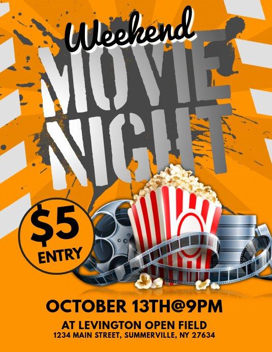 Movie Night Flyer Templates Elegant Movie Night Flyer Template