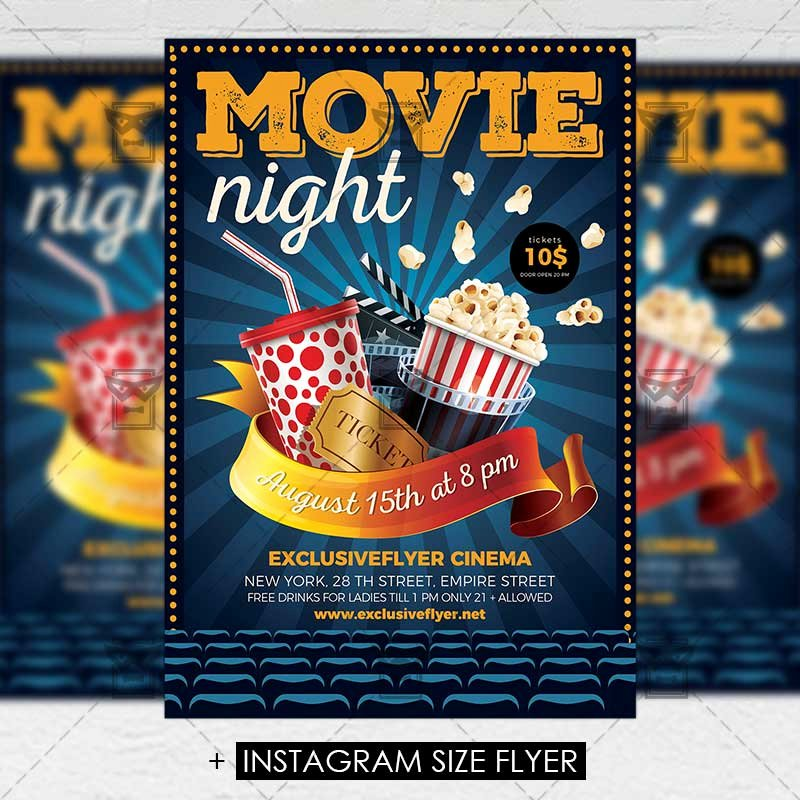 Movie Night Flyer Templates Fresh Movie Night – Premium A5 Flyer Template