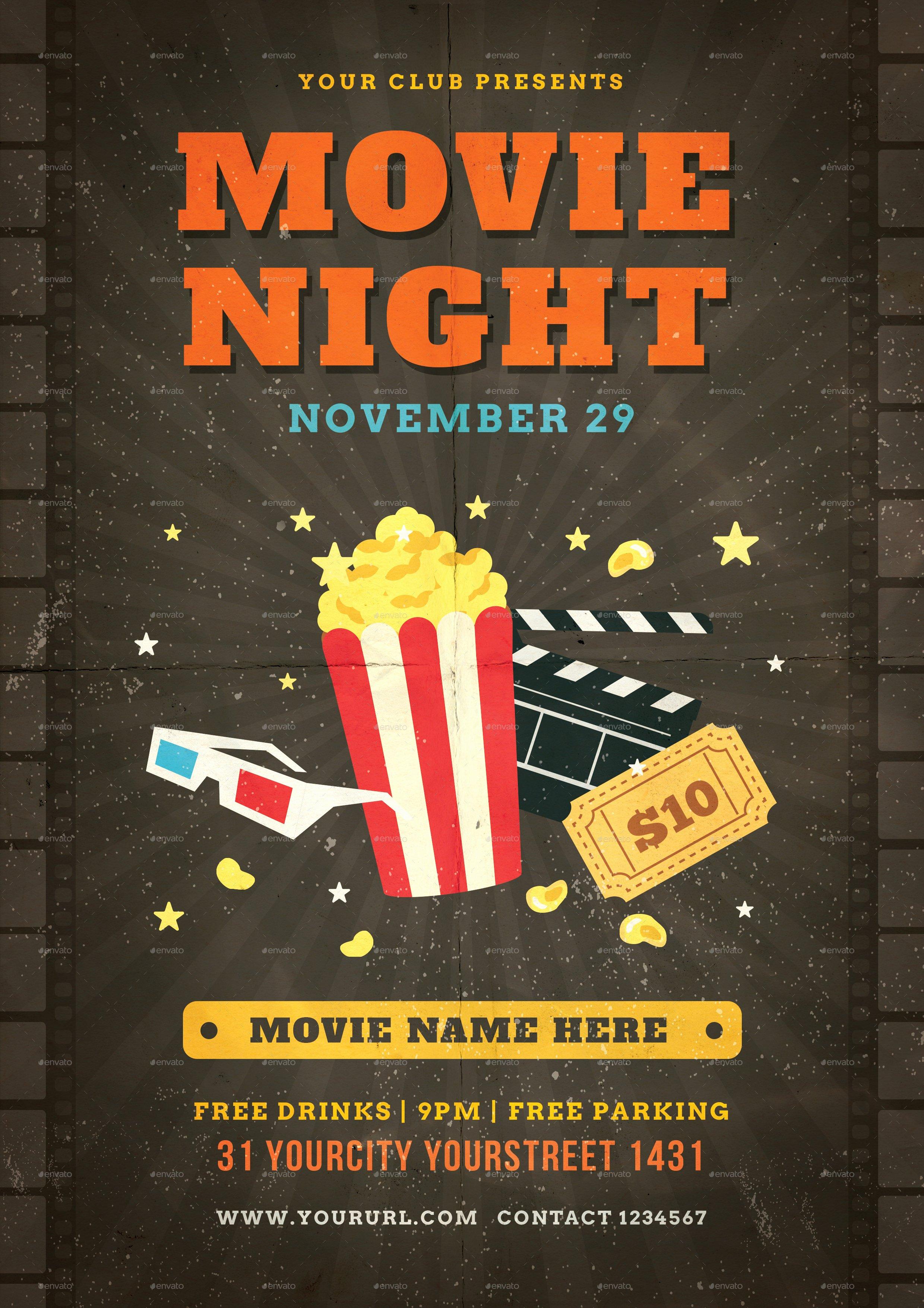 Movie Night Flyer Templates Inspirational Movie Night Flyer by Infinite