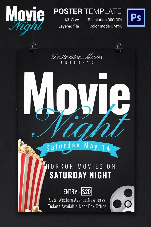 Movie Night Flyer Templates Lovely Movie Night Flyer Template 25 Free Jpg Psd format