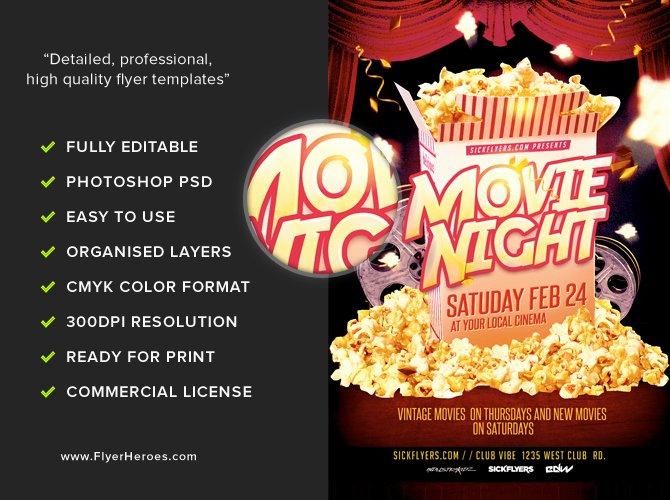 Movie Night Flyer Templates Lovely Movie Night Flyer Template Flyerheroes