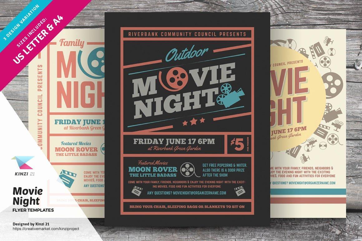 Movie Night Flyer Templates Luxury Movie Night Flyer Templates Flyer Templates Creative