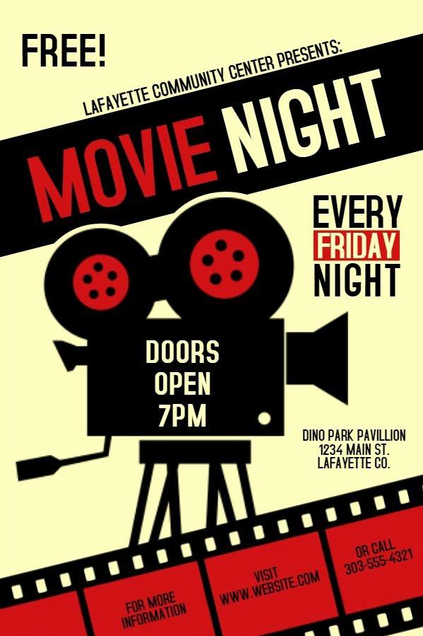 Movie Night Flyer Templates Luxury Movie Night society Invitation Poster Flyer social Media