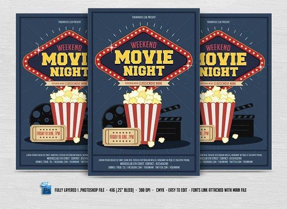 Movie Night Flyer Templates Unique Movie Night Flyer Flyer Templates Creative Market