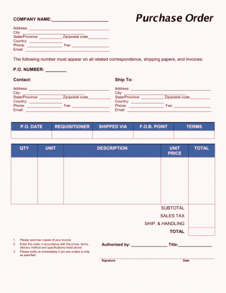 Ms Word Purchase order Template Awesome Free Purchase order form Template Excel Word Sample