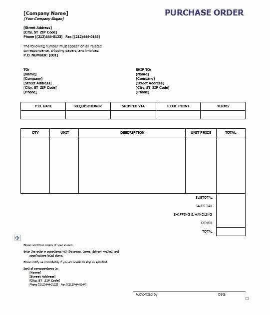Ms Word Purchase order Template Unique Purchase order Template Word