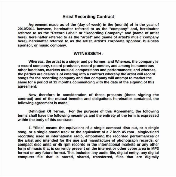 Music Artist Contract Template Awesome Recording Contract Template 11 Download Documents In