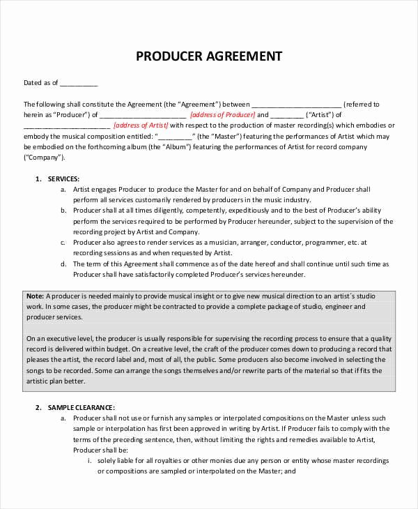 Music Artist Contract Template Beautiful 10 Music Contract Samples & Templates Pdf Word Google