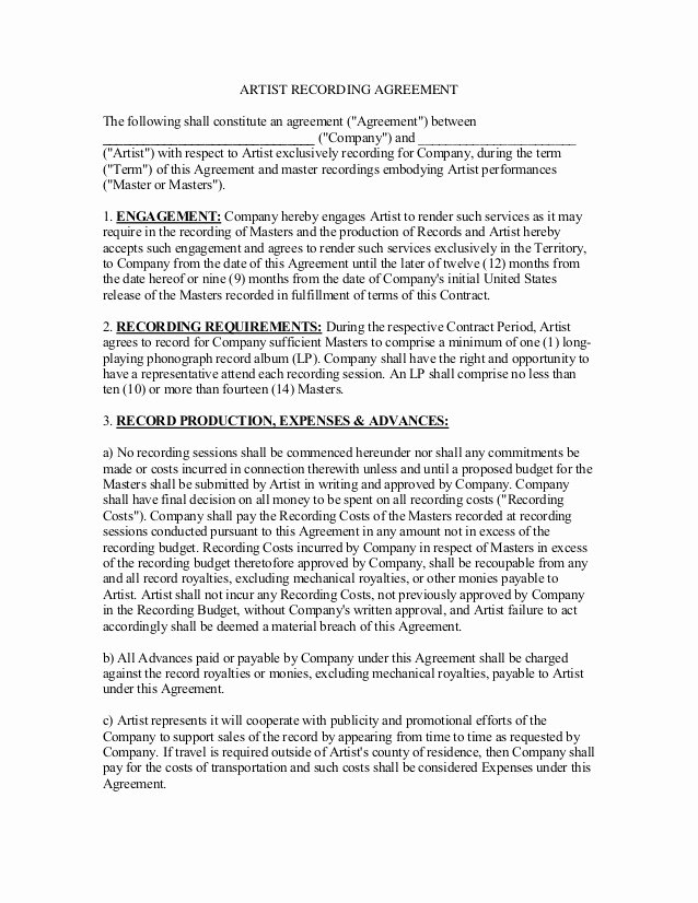 Music Artist Contract Template Beautiful Artist Recording Contract 2