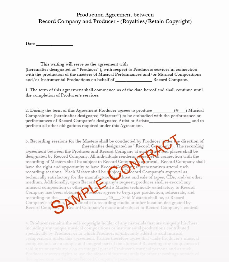 Music Artist Contract Template Beautiful Music Producer Contract Templates Music Production