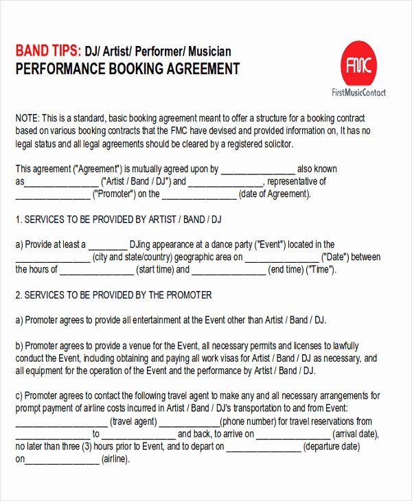 Music Artist Contract Template Best Of Performance Agreement Contract Sample 10 Examples In