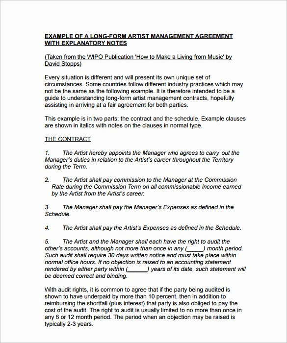 Music Artist Contract Template Fresh 10 Artist Management Contract Templates Word Docs