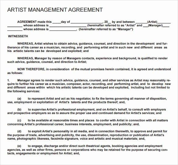 Music Artist Contract Template Inspirational 12 Artist Contract Templates Pages Word Docs