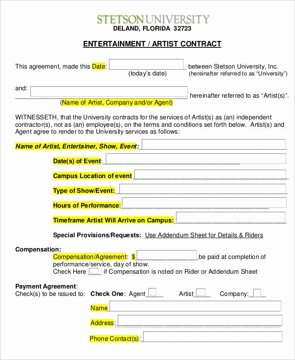 Music Artist Contract Template Inspirational 14 Artist Contract Templates Word Apple Pages Pdf
