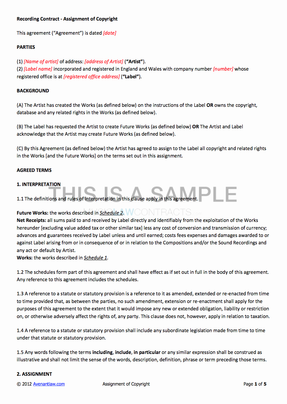 Music Artist Contract Template Lovely Non Exclusive Recording Contract Template