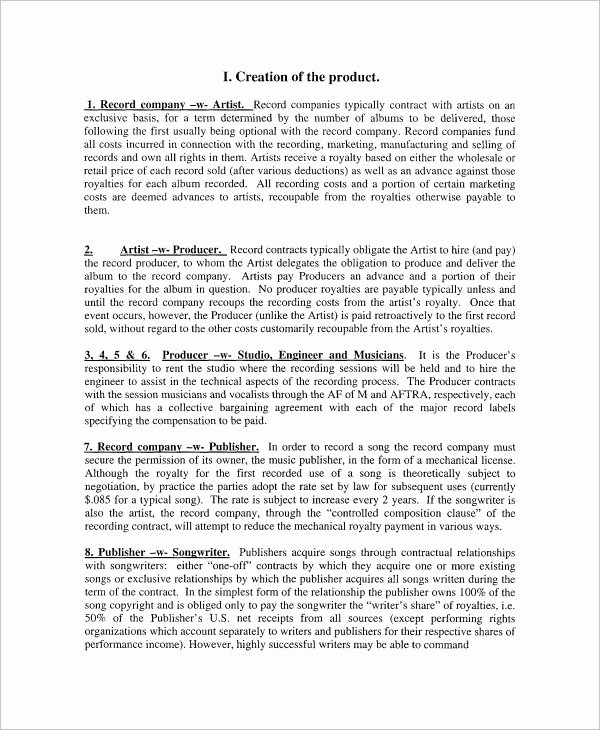 Music Artist Contract Template Lovely Sample Industry Contract Template 5 Free Documents