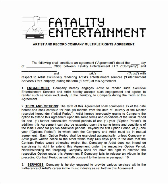 Music Artist Contract Template Luxury 20 Music Contract Templates Word Pdf Google Docs
