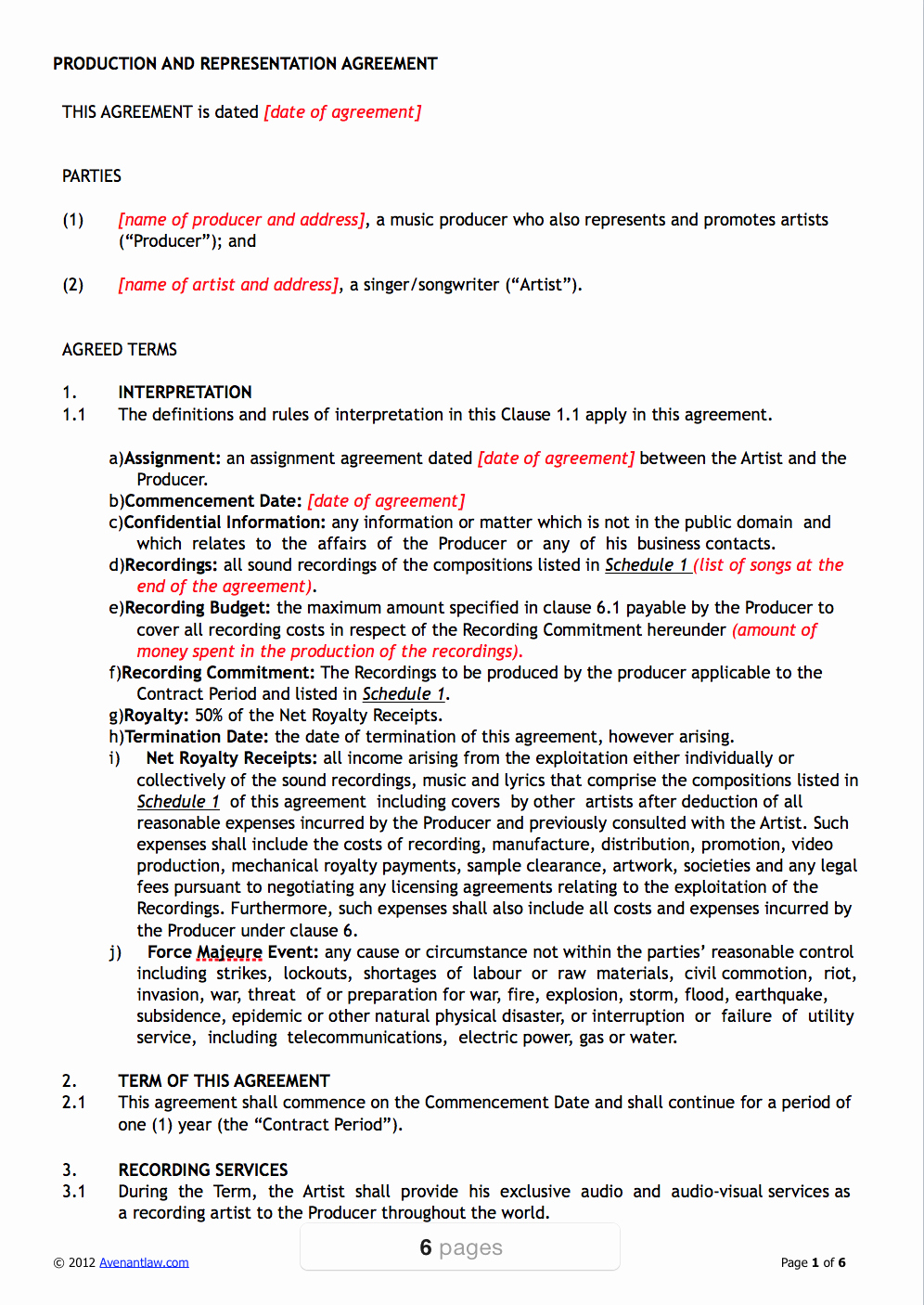 Music Artist Contract Template Luxury Producer Contract Template Pro Producer