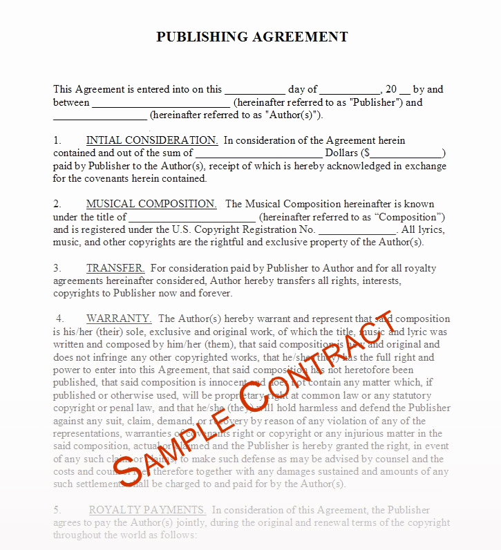 Music Artist Contract Template New Free Music Contracts Protect Your Brand