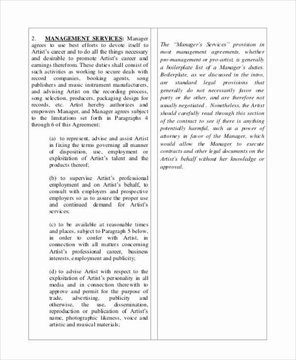 Music Artist Contract Template New Music Agreement Contract Sample 7 Examples In Word Pdf