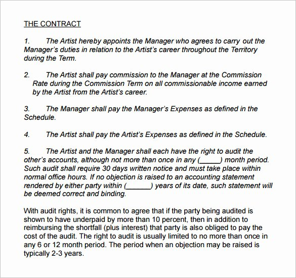 Music Artist Contract Template Unique 6 Artist Management Contract Templates Word Pdf