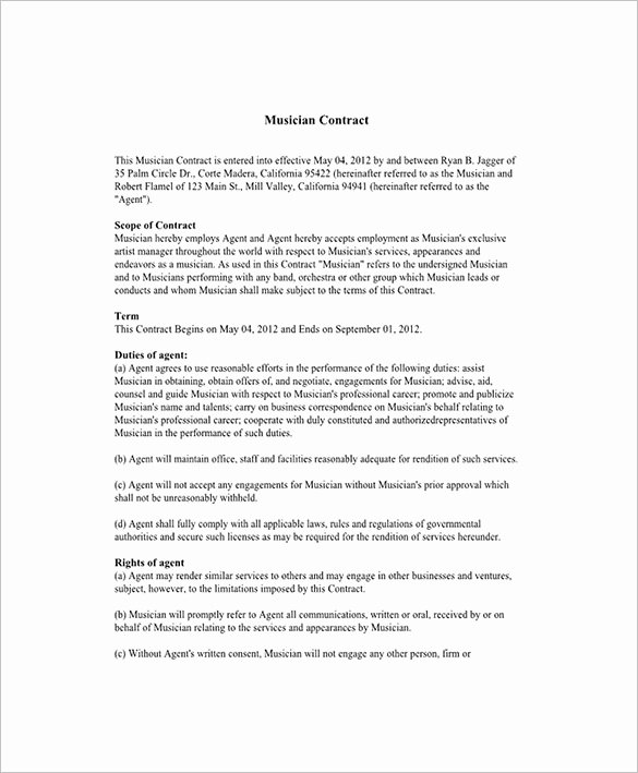 Music Artist Contract Template Unique 8 Booking Agent Contract Templates Free Word Pdf