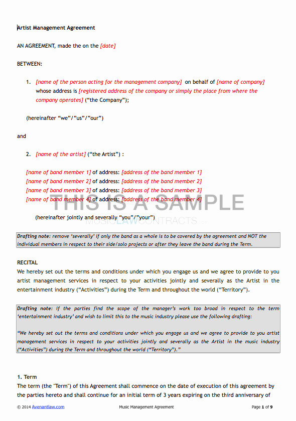 Music Producer Contract Template Awesome Artist Management Contract Template