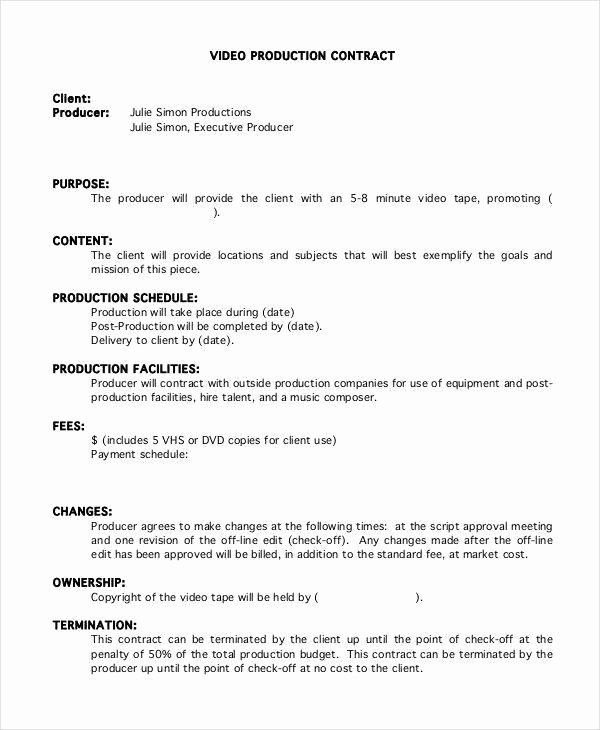 Music Producer Contract Template Beautiful 6 Production Contract Samples & Templates In Pdf