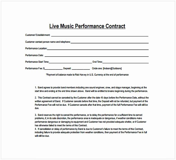 Music Producer Contract Template Best Of Music Contract Template