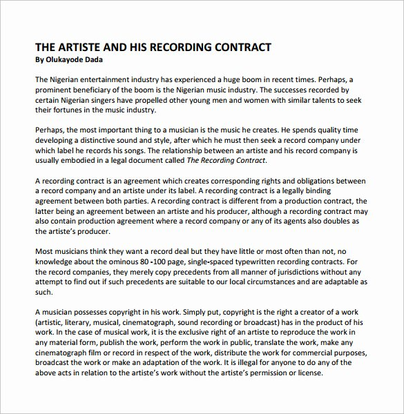 Music Producer Contract Template Fresh Recording Contract Template 11 Download Documents In