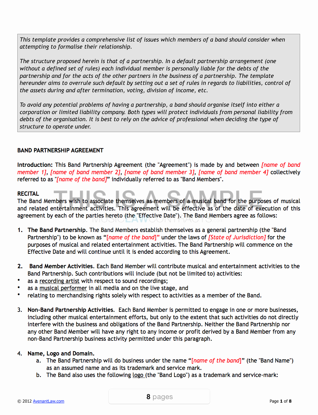 Music Producer Contract Template Lovely Band Agreement Template