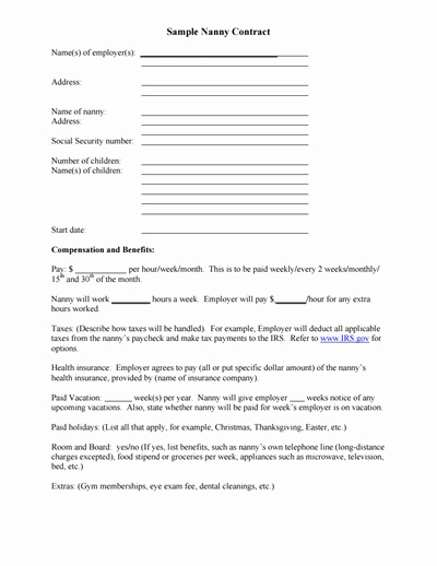 Nanny Contract Template Word Elegant Nanny Contract Template Free Download Create Edit Fill
