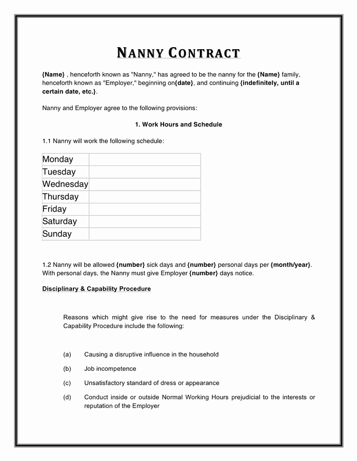Nanny Contract Template Word Elegant Nanny Contract Template In Word and Pdf formats