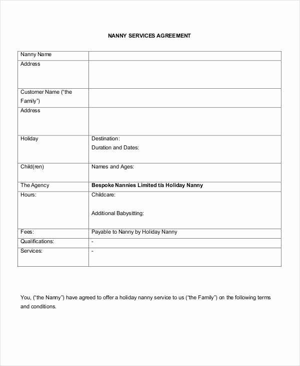 Nanny Contract Template Word Fresh 12 Nanny Contract Templates Word Docs