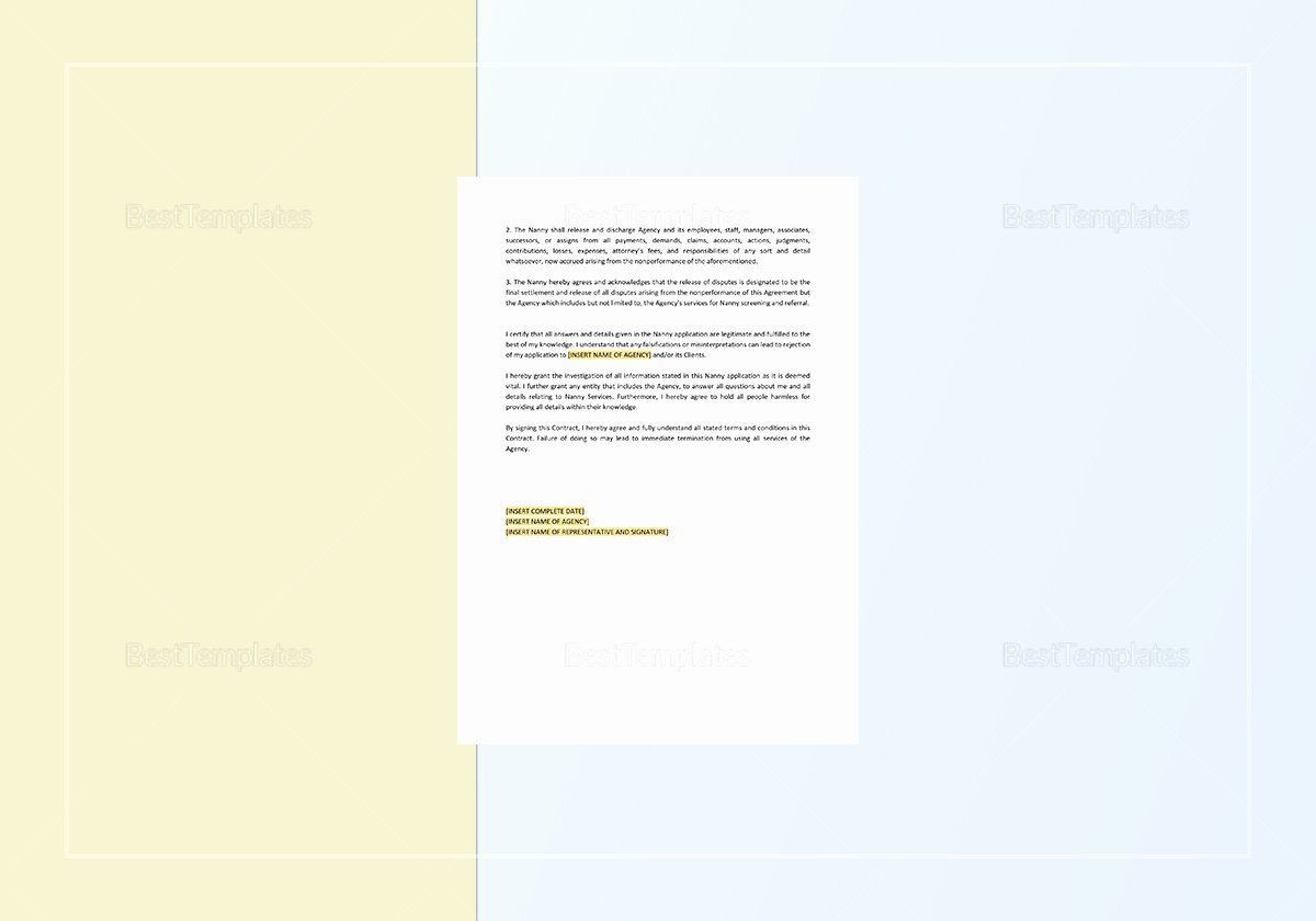 Nanny Contract Template Word Luxury Nanny Contract Template In Word Apple Pages