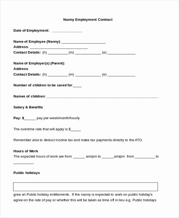 Nanny Contract Template Word New 9 Sample Nanny Contract form Templates Docs Word