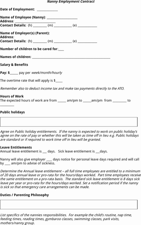 Nanny Contract Template Word New Download Nanny Contract Template for Free formtemplate