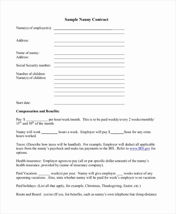 Nanny Contract Template Word Unique 9 Sample Nanny Contract form Templates Docs Word