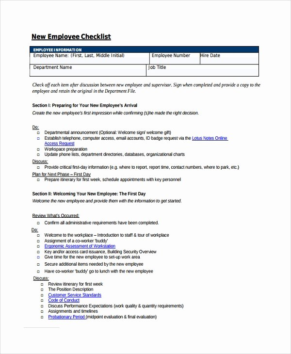 New Hire Checklist Template Excel Awesome Sample New Employee Checklist 20 Free Documents