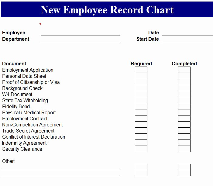 New Hire Checklist Template Excel Elegant New Employee Record Chart My Excel Templates