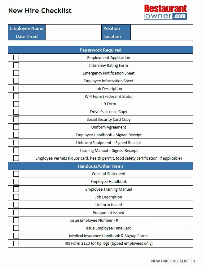 New Hire Checklist Template Excel Fresh 12 New Hire Checklist Template Free Download