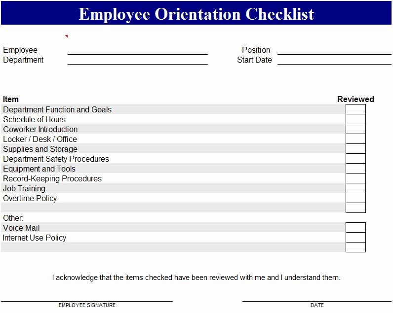 New Hire Checklist Template Excel Fresh Employee orientation Checklist