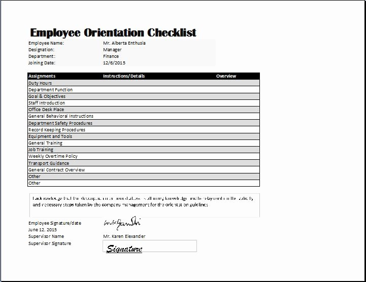 New Hire Checklist Template Excel Fresh Employee orientation Checklist Template