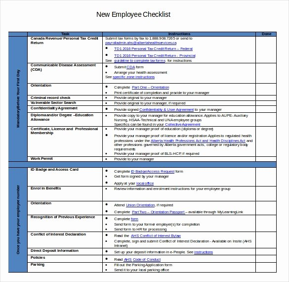 New Hire Checklist Template Excel Luxury New Hire Checklist Template 18 Free Word Excel Pdf