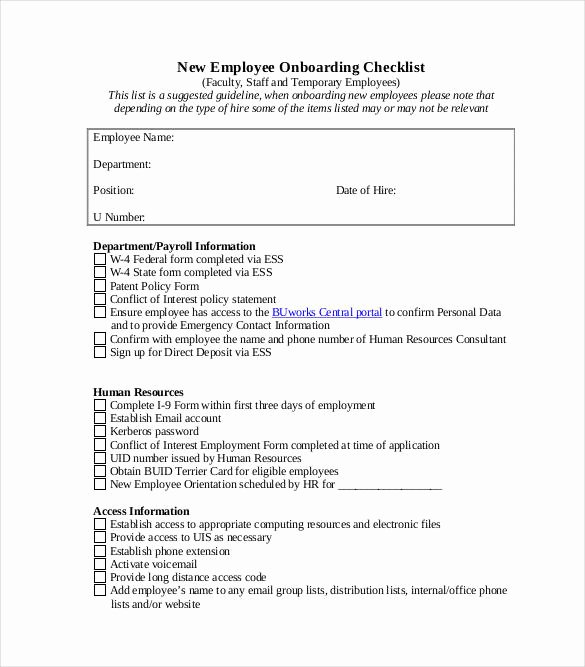 New Hire Checklist Template Excel New 11 Boarding Checklist Samples and Templates Pdf Word